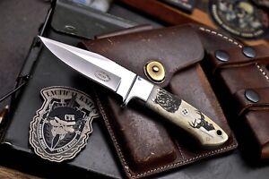 CFK Handmade DC53 Custom BEAR & DEER Scrimshaw Bone Small Hunting Skinner Knife