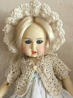 "Crocheted ""Victorian Ecru ,White Or Blue Sweater & Hat for Bleuette 10 3/4""-11"""