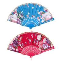 Tragbare spanische Tanzkunst Fan Pocket Fan Faltfächer Rose Red & Lake Blue