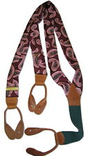 Polo Ralph Lauren Mens Silk Braces Suspenders Burgundy Pink Paisley Leather