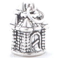 3D MEDIEVAL CASTLE Travel Bracelet Charm Pendant 925 STERLING SILVER Nice Detail