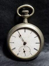 ANTIQUE SWISS MOVEMENT 1880-90's POCKET WATCH ILLINOIS WATCH CASE NICKEL SILVER