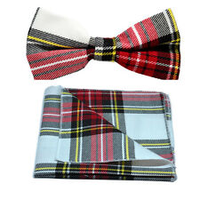 Traditional White & Red Tartan Bow Tie & Pocket Square Set, Check, Plaid
