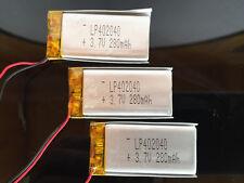 Li-Po 3.7V 280 mAh Polymer Battery 402040 PCM Rechargeable Batteries (3 pack)