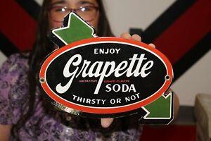 Grapette Grape Soda Pop Gas Oil Porcelain Metal Sign