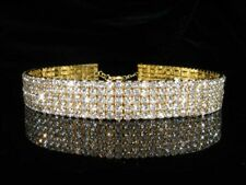 Bridal Prom 5 Rows made with Swarovski Crystal 925 Gold Plated Choker  BN072G