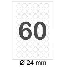 Etiketten RUND Ø 24 mm 6000 runde Markierungspunkte Haftpunkte auf DIN A4 Bogen
