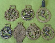 Lot (7) ENGLAND Vintage Antique BRASS Horse Harness Ornaments Medallions~NO RES