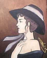 TABLEAU PEINTURE ART FEMME PROFIL DAME AU CHAPEAU ORIGINAL  SIGNE CHRISK
