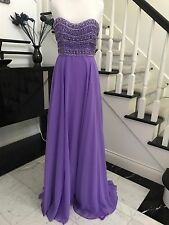 Strapless Beaded Purple  Long  Prom Dress  Bridesmaids Gown size 0-10