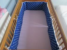 Cushi cots cot bed bumper boys twin pack/full wrap white stars on royal blue new