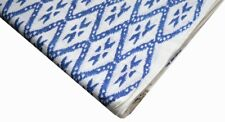 Hand Block Print Indian Cotton Voile Sewing Fabric Blue Material By 10  Metre