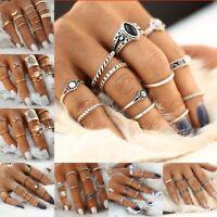 Silver Gold Midi Finger Ring Set Vintage Punk Boho Knuckle Rings for Women Girl