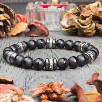 New Modèle Bracelet Homme perles pierre gemme Agate Mat noir Hématite Fait Main