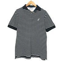 Nautica True Deck Shirt Black White Striped Mens Polo Shirt Size Large