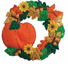 """Fall Wreath, 16"""" x 15"""", Felt Applique Kit- 86831 **NEW for 2017**"""