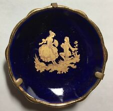 Miniature LIMOGES France Porcelain Plate Blue Gold Stand Dollhouse Man Woman