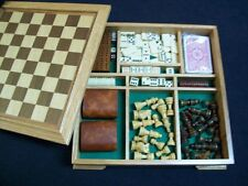 7 Games Wood Box Chess Checkers Backgammin Dominoes Cribbage Cards Poker Dice