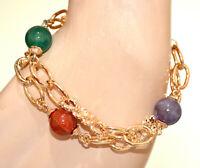 BRACELET OR femme chaîne pendentifs pierres rouge vert violet anneaux dorés N94