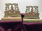 Judd Student in Library Painted Cast Iron Bookends Green Asian 1920's (repairs)