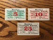 Moore's Telephone System Coupon Set MTSA1 MTSA2 & MTSA3 Old BOB Stamp Lot