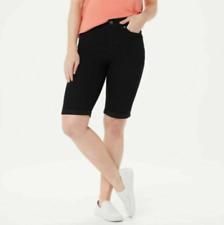 Denim & Co. 5-Pocket Cuffed Bermuda Shorts - Black Wash - Reg 4