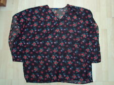 RESORT SIZE 24 SHEER ROSE PATTERNED TOP UNWORN VGC FREE UK POSTAGE