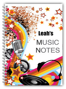 A5 PERSONALISED NOTEBOOK, NOTE BOOK, 50 LINED OR BLANK, MUSIC NOTES 01