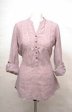 L242/15 Marks&Spencer Hypoallergenic Red Mix Linen Casual Fitted Shirt , UK 12
