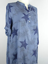 Bluse Tunika Gr. 48 50 52 Big size Lagenlook one size  blau Sterne Star