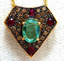 2.81ct natural oval emerald fancy diamonds ruby shield pendant 14kt 16 inch