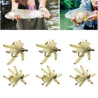 6PCS Fly Made Cluster Flies for Trout Carp Perch Fishing Artificial Worm Insect