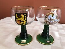 2 Vintage Frankenthal German Wine Glass Gold Green Beehive Stem Goblets
