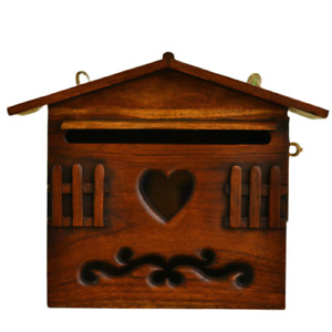 Wooden Outdoor Mailbox Letter Box Holder Wall Hanging Teak Wood