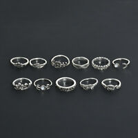 11PCS Set Silver Gold Boho Fashion Arrow Moon Midi Finger Knuckle Rings Jewelry