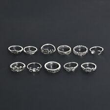 11pcs Set Retro Silver Boho Fashion Arrow Moon Midi Finger Knuckle Rings Jewelry