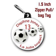 Two Soccer Zipper Pull/Bag Tags Personalized with Name, Number, Team, Colors
