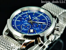 NEW Invicta Men's 45mm SPEEDWAY Chronograph BLUE DIAL Mesh Bracelet SS Watch