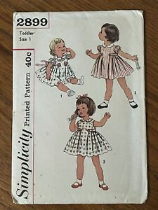Vintage 1950s Simplicity Sewing Pattern 2899 Toddler Dress One Piece Pleats Sz 1
