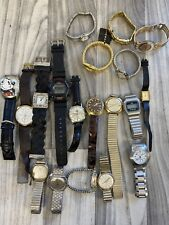 19 Watch Lot for parts/repair Vintage Timex Elgin Bulova Citizen Skagen Seiko