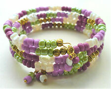 Pink Green Cream Seed Bead Gold Plated Memory Wire Wrap Bracelet KCJ2128