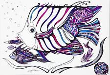 Fish / Underwater Scene / Colorful Sea/ Hand Colored Print by Xenia Hahonina /A4