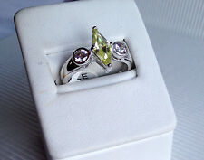 Beautiful Sparkly Rhodium Plated Peridot CZ / Clear Marquise Ring Size 8 BNWT