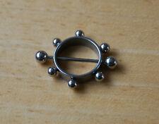 ACCIAIO Inossidabile Color Argento Cerchio Palla Rotondo scudo capezzolo Bar anello Body Piercing