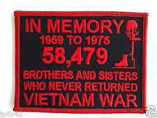 ''IN MEMORY OF THE VIETNAM WAR''  Military Veteran Hero Patch (Red) D