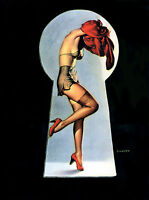 Retro Pin Up Key Hole Peep Girl Home Decor Canvas Print A4 Size (210 x 297mm)
