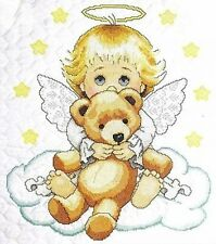 Angel and Teddy Cot Quilt Stamped Cross Stitch Kit Tobin Baby