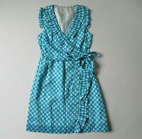 Kate Spade New York Aubrey in Firoza Blue Gingham Silk Blend Ruffle Wrap Dress 2
