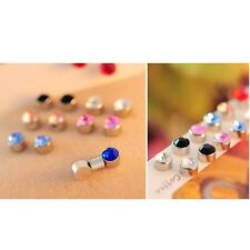 Stylish Round Crystal Magnet Ear Stud Earrings - Magnetic Mens Womens Jewelry
