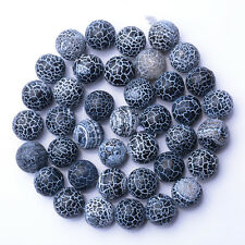 """10MM Black Agate Beads Striped Matte Round Loose Beads Jewelry Making 15"""""""